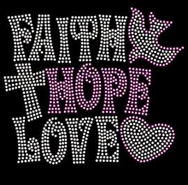 Faith Hope Love bird cross heart Religious Cancer Rhinestone Transfer