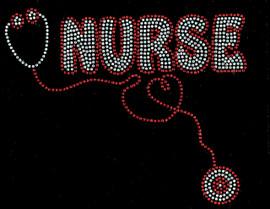 Nurses Text with Stethoscope Rhinestone Transfer Iron on