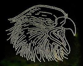 Large Eagle Face head Rhinestone Transfer