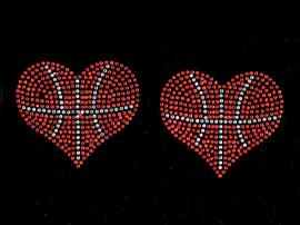 "(2 qty) Basketball Ball Heart shape 3.75"" Rhinestone Transfer Iron on"