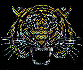 Tiger Face Front 5 Color Rhinestone Transfer (5 templates)