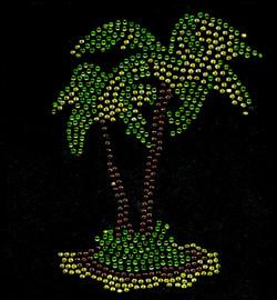 Palm Tree Dual Tropical Rhinestone Transfer Iron on