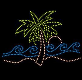Palm Tree single with wave Tropical Rhinestone Transfer Iron on