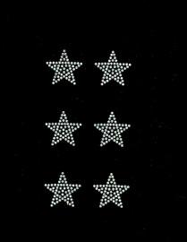 """(6 qty) 1.5"""" Star (CLEAR) Rhinestone Transfer Iron on"""