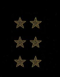 """(6 qty) 1.5"""" Star (GOLDEN TOPAZ) Rhinestone Transfer"""