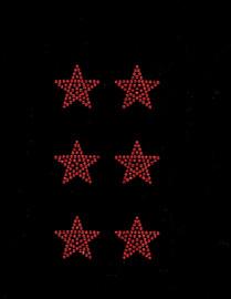 """(6 qty) 1.5"""" Star (RED) Rhinestone Transfer"""