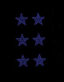 """(6 qty) 1.5"""" Star (COBALT BLUE) Rhinestone Transfer"""