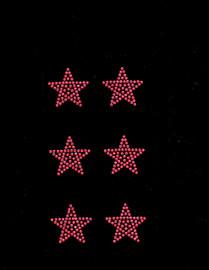 """(6 qty) 1.5"""" Star (FUCHSIA Hot Pink) Rhinestone Transfer"""