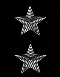 """(2 qty) 4"""" Star (CLEAR) Rhinestone Transfer Iron on"""