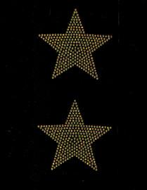 """(2 qty) 4"""" Star (GOLDEN TOPAZ) Rhinestone Transfer"""