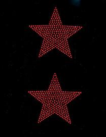 """(2 qty) 4"""" Star (RED) Rhinestone Transfer"""