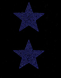 """(2 qty) 4"""" Star (COBALT BLUE) Rhinestone Transfer"""