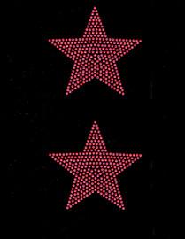 """(2 qty) 4"""" Star (FUCHSIA Hot Pink) Rhinestone Transfer"""