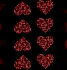 "(8 qty) 2"" Heart (Red) Rhinestone Transfer Iron on"