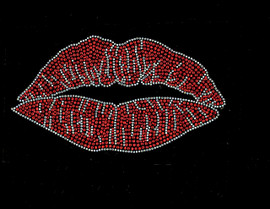 """Large Lips 8.4"""" (clear and Red) Rhinestone Transfer"""