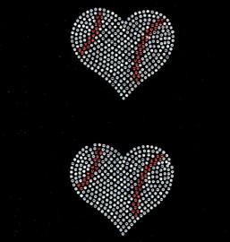 """(2 qty) 3.8"""" Baseball Ball Heart shape Rhinestone Transfer Iron on"""