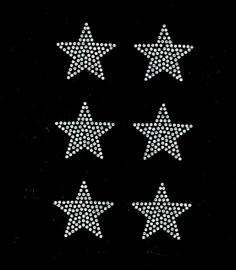 """(6 qty) 2"""" Star CLEAR Rhinestone Transfer Iron on"""