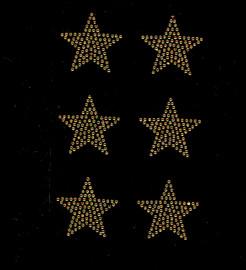 "(6 qty) 2"" Star (GOLDEN TOPAZ) Rhinestone Transfer Iron on"