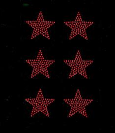 "(6 qty) 2"" Star (RED) Rhinestone Transfer Iron on"