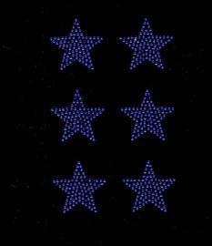 "(6 qty) 2"" Star (Cobalt Blue) Rhinestone Transfer Iron on"
