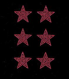 """(6 qty) 2"""" Star (FUCHSIA Hot Pink) Rhinestone Transfer"""
