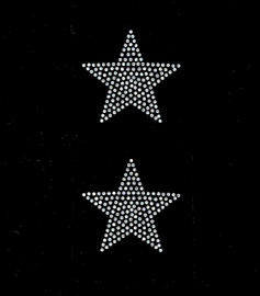 """(2 qty) 3"""" Star (CLEAR) Rhinestone Transfer Iron on"""