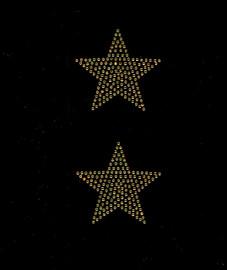 """(2 qty) 3"""" Star (Golden TOPAZ) Rhinestone Transfer"""