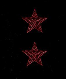 """(2 qty) 3"""" Star (RED) Rhinestone Transfer"""