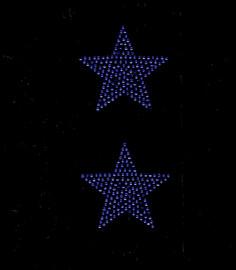 """(2 qty) 3"""" Star (COBALT Blue) Rhinestone Transfer"""