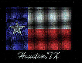 Houston Texas Flag Map Rhinestone Transfer Iron On