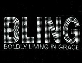 Bling Boldly Living in Grace (Bold Text) Religious Rhinestone Transfer