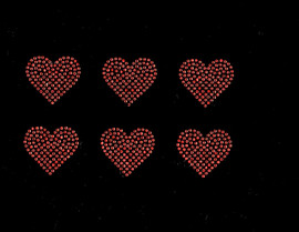 "2"" Heart (6 Hearts) Orange Rhinestone Transfer Iron on"