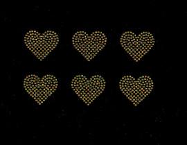 "2"" Heart (6 Hearts) Topaz Golden Rhinestone Transfer"