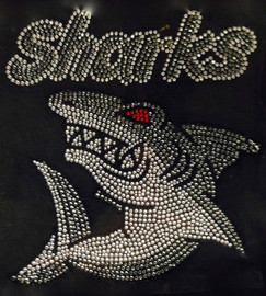 SHARKS Attack Rhinestone Transfer Iron On