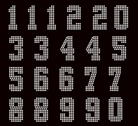 """2"""" Bold Number (Total 21 numbers sheet) Rhinestone Transfer Iron on"""