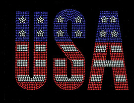 USA Text Bold Letter 4th of july Rhinestone Transfer