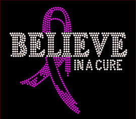 (Fuchsia) Believe in a Cure Breast Cancer Ribbon Awareness Rhinestone Transfer