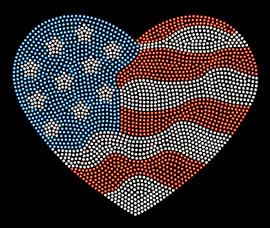 USA Heart waves 4th of July Rhinestone Transfer