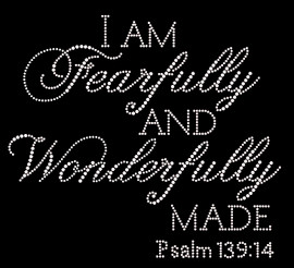 (Text) I'm Fearfully and Wonderfully made PSALM 139:14 Religious Rhinestone Transfer