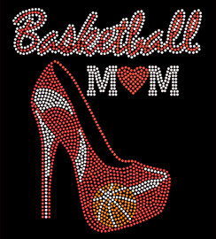 Basketball Mom Heel Stiletto (RED) Rhinestone Transfer