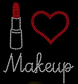 I love Makeup Lipstick Make up Rhinestone Transfer