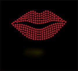 "(6 qty) Lips 4"" Red Rhinestone Transfer Iron On"