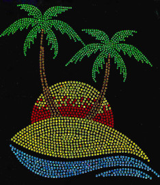 Sunset Beach Palm Tree Tropical Rhinestone Transfer