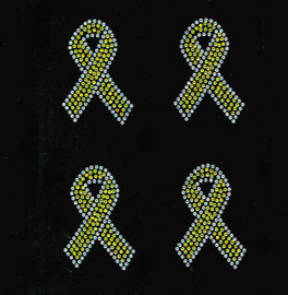 "(4 qty) 3"" Citrine Yellow Breast Cancer Ribbon Awareness clear outline Rhinestone Transfer"