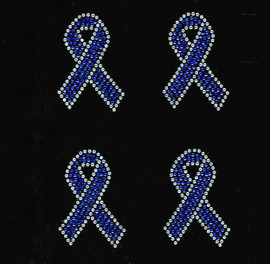 "(4 qty) 3"" Blue Cancer Ribbon Awareness clear outline Rhinestone Transfer"