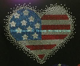 USA Heart Spray 4th of July Rhinestone Transfer