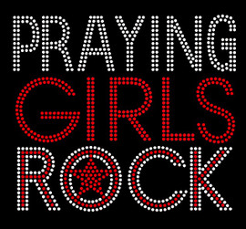 Praying Girls Rock Red Religious Rhinestone Transfer