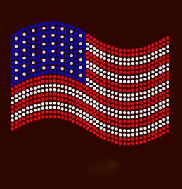 USA Flag Wave 4th of July Rhinestone Transfer
