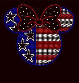 USA Mickey 4th of July Rhinestone Transfer Micky