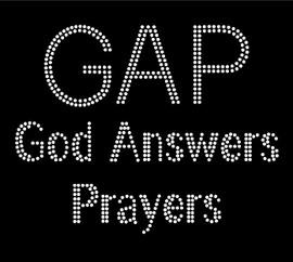 GAP God Answers Prayers Text Religious Rhinestone Transfer